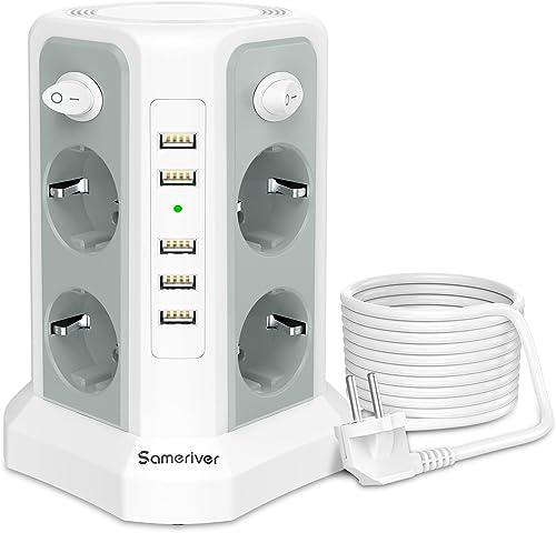 Sameriver 8 Voies Multiprise Electrique et 5 Ports USB, Tour Multiprise avec Câble 5M, Multiprise Parafoudre avec 4 I...