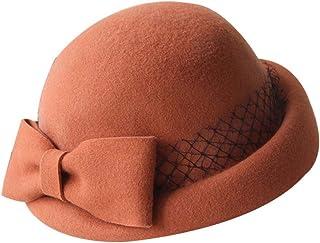 Blancho Bedding Lana de Malla Billycock Bowknot Rollo de ala Sombrero Hongo Color Sólido Naranja