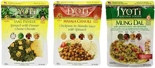 Jyoti Heat & Serve Gluten Free 3 Flavor Side Dish Sampler Bundle: (1) Jyoti Saag Paneer, (1) Jyoti Masala Chhole, and (1) Jyoti Mung Dal, 10 Oz. Ea. (3 Pouches)