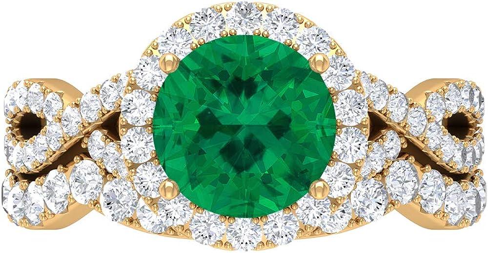 8 MM Fort Worth Mall Green Finally popular brand Tourmaline Ring D-VSSI Moissanite Crossov Halo