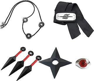I3C Naruto Accessoires Konoha Bandeau Collier Konoha Bague Shuriken Ninja Kunai pour Homme Femme Cosplay Fans