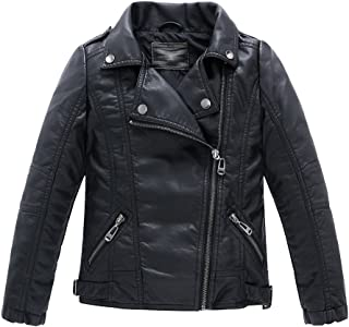 Boys Girls Spring Motorcycle Faux Leather Jackets with Oblique Zipper