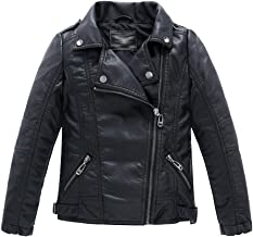 LOKTARC Boys Girls Spring Motorcycle Faux Leather Jackets with Oblique Zipper