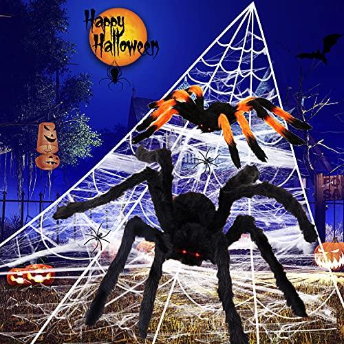 Halloween Spider Decorations 200″ TriangularGiant Spider Web + 50″ Large Scary Spider + 30″ Hairy Spider + 2 Spiders for Halloween Decorations Yard Lawn Garage Home Haunted House Decor