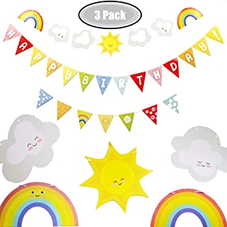 2019 Colorful Happy Birthday Banner for Party Decorations, Big Sunshine Rainbow Clouds Theme Party Decor for Baby Shower, Boys Girls 1st Birthday, Versatile Party Decor Photo Background, 3 Packs Banners Inside