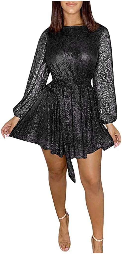 Easy-to-use Litetao Women Long Flare Sleeve Sequin 70% OFF Outlet Par Dress Sexy Mini Swing