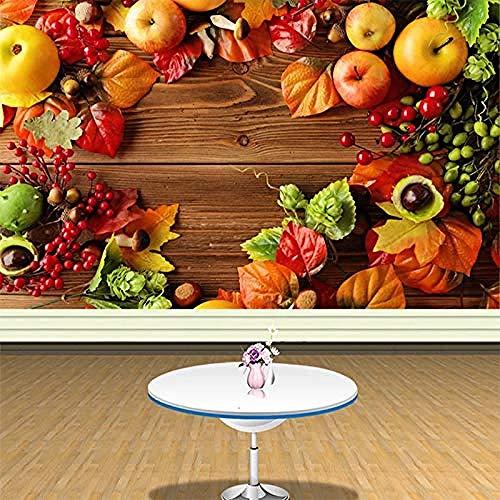 Carta da parati Stile rustico Frutta fresca Sfondo Muro Supermercato Negozio di frutta Decorazione soggiorno Carta Carta Da Parati panno camera da letto moderna 3D Fotomurali Soggiorno-350cm×256cm