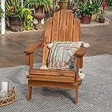Walker Edison Sullivan Classic Solid Acacia Wood Outdoor Folding Adirondack Chair, 38 Inch, Brown