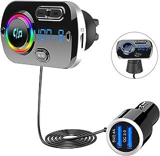 SONRU Transmetteur FM Bluetooth 5.0, Adaptateur Radio FM Émetteur Kit Main Libre QC3.0..