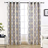 DriftAway Adrianne Thermal and Room Darkening Grommet Unlined Window Curtains Set of 2 Panels Each 52 Inch by 84 Inch Yellow and Gray