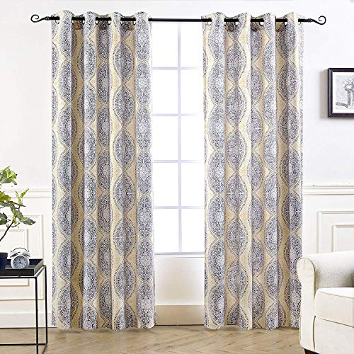 "DriftAway Adrianne Damask/Floral Pattern Thermal/Room Darkening Grommet Unlined Window Curtains, Set of Two Panels, each (52""x84"", Yellow/Gray)"