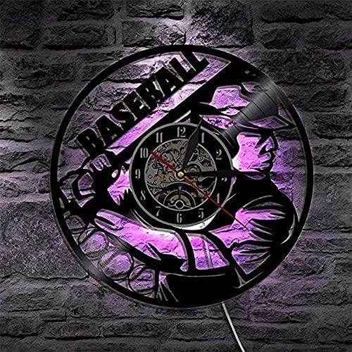 SHILLPS Decoración de Halloween Reloj de Pared Negro Horror Zombie Disco de Vinilo Arte de la Pared Reloj de Pared de Cuarzo silencioso NO LED