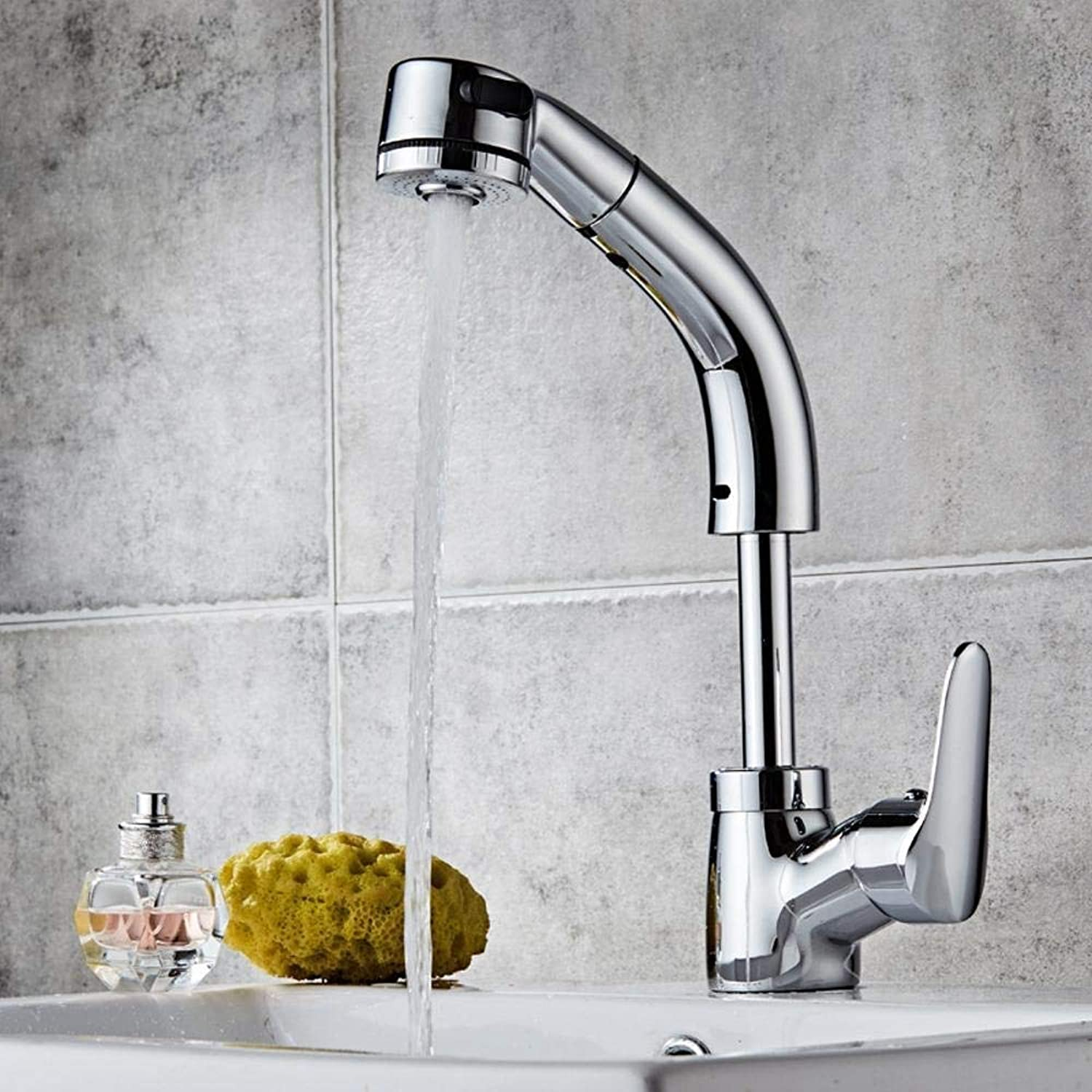 Tap Kitchen Pull Out,Kingdam Copper Pull-Out Basin Faucet hot and Cold Basin wash Basin Faucet can Lift Shampoo Telescopic,A