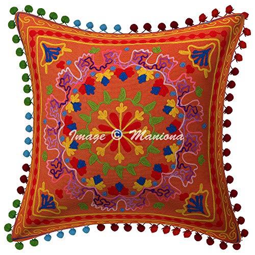 Maniona Fundas de cojín Suzani naranja, fundas de almohada decorativas de 40,6 x 40,6 cm