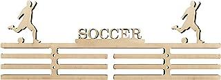 Arena Gifts Soccer Medal Hanger Display Wooden Soccer Awards Holder Sports Rack - Displays Up to 24 Hanging Medals or Ribb...