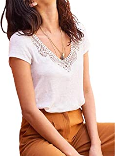 Howely Womens Hollow Out Light Weight Folk Style V-Neck Basic Blouse Tops