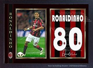 Ronaldinho Milan t Shirt Signed Autograph Photo Poster Print Framed MDF