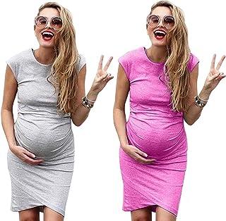 b13e2e49f974e Women's Sleeveless Midi Maternity Dress Cozy EUR-Style Print Dress for  Pregnant