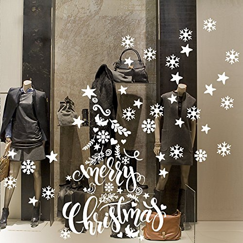 kina NT0401 Vetrofania Natalizia per vetrine Negozi - Decorazioni adesive per Natale 60x100 cm - Bianco
