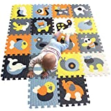 MQIAOHAM Foam Puzzle Alfombra de juego con bordes Kids Multi-Color Safe Baby Playground Soft Padded Floor Protection Alfombra de alta calidad EVA Foam Interlocking Tiles no tóxico P009B3010