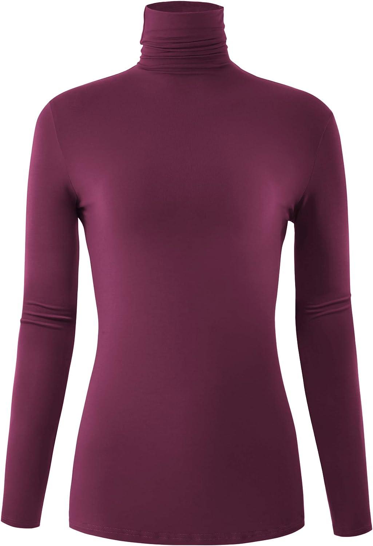 AUHEGN Women's Long Sleeve Lightweight Turtleneck Top Pullover Sweater