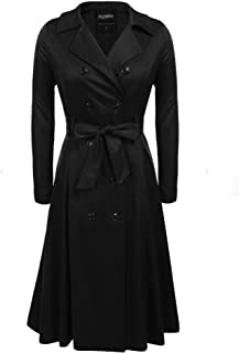Women's Trench Coats Double-Breasted Long Coat with Belt