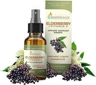 BodyHealth Elderberry Plus Vitamin-C Organic Liquid Sambucus Immune Supporting Drops. 2 Fl Oz, 30 Servings.