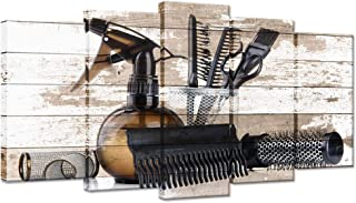 iHAPPYWALL Vintage Barber Shop Wall Art Large 5 Pieces Hair Salon Tools Set Great Gift Hair Stylists Picture Print On Canvas Stretched Framed Ready to Hang