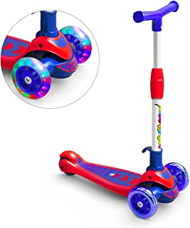 Greentest Scooter Foldable and Adjustable Height Lean to Steer 3 Wheel Scooters for Toddler Kids Boys Girls Age 3-8