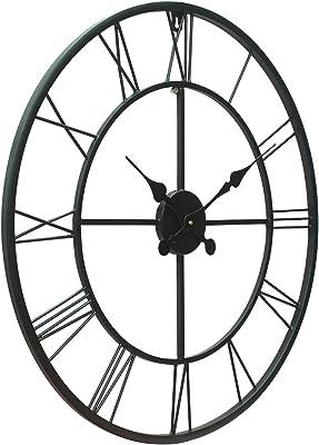 Chronikle Black Round Iron Wall Clock Roman Numbers (24 x 24 Inch)