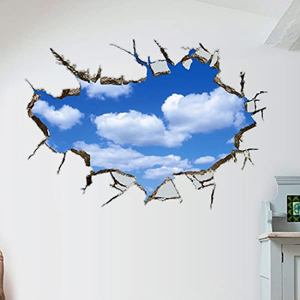Amaonm Removable 3D Vivid Blue Sky Holes Break Through The Wall Wall Stickers For Wall And Ceiling Home Art Decor Decorations Wall Decals For Kids Boy Girls Bedroom Playroom 5888cm