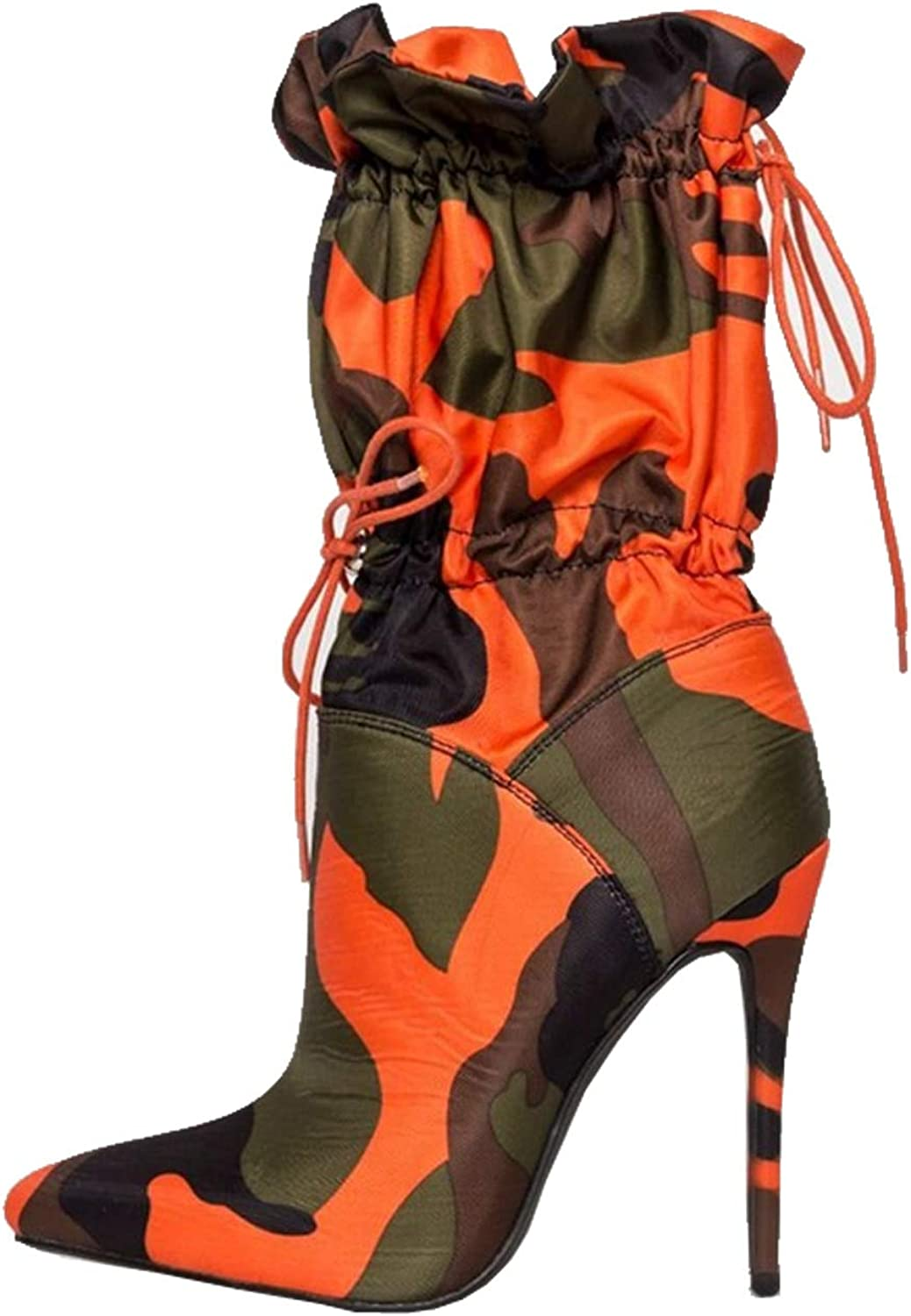 trend rank YIYA Women's High Heel Mid-Calf Pointed Product Boots Camouflage Sexy To