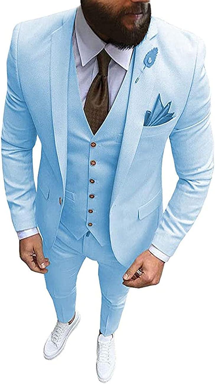 3 Pcs Men's Slim Fit Suit,One Button Blazer Vest Pant,Suitable for Weddings and Business Occasions