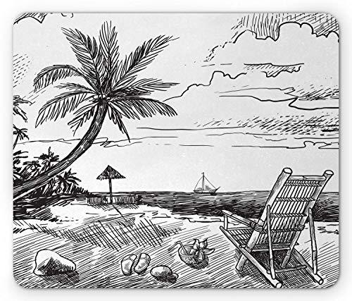 Alfombrilla de ratón de Verano, Bosquejo de Playa con Silla de Palma Yate de Coco Panorama de Viaje de Vacaciones Tropicales, Alfombrilla de ratón Antideslizante de Mousepad