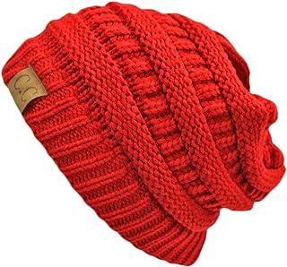 Luxury Divas Red Thick Slouchy Knit Oversize Beanie Cap Hat
