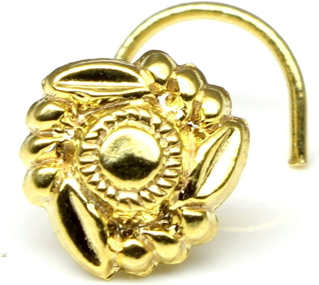 Karizma Jewels Ethnic Indian Nose Ring, Piercing Nose Ring, Asian Gold Plated Nose Ring