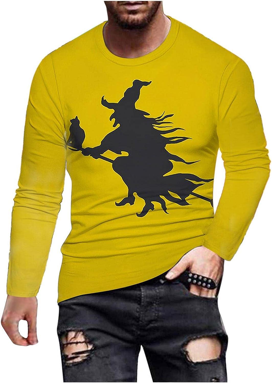 Mens Shirts Men's Halloween Funny 3D Digital Printed T-shirt Long Sleeve Tee Shirts for Men Top Blouse Polo Shirts for Men