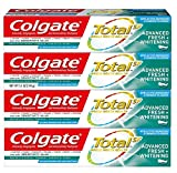 Colgate Total Whitening Toothpaste, Advanced Fresh + Whitening Gel - 4.8 Ounce (4 Pack)