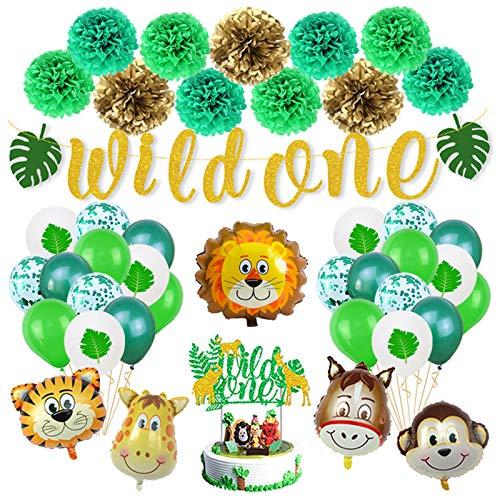 Xinqin Jungle Décorations Animal Vert Anniversaire Ballon, Bannière avec Wild One Pompon Fleur en Papier Safari Forest Ballons en Confettis + Gâteau Topper pour Garçon Enfant Bébé Shower