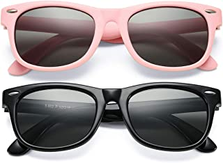 Kids Polarized Sunglasses TPEE Rubber Flexible Shades for Girls Boys Age 3-9 (Pink/Grey+Glossy Black/Grey)