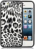 iPhone 5S Case, iPhone 5 Case, iSee Case (TM) Leopard Print Faux Leather TPU Full Cover Protective Case for Apple iPhone 5S iPhone 5 (5S-TPU Leopard Black)
