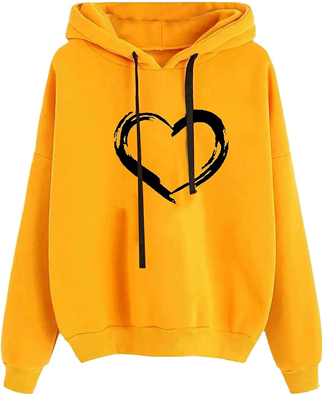 Jaqqra Hoodies for Women Pullover Graphic Long Sleeve Heart Print Crewneck Sweatshirts Teen Girls Casual Hooded Tops Sweater
