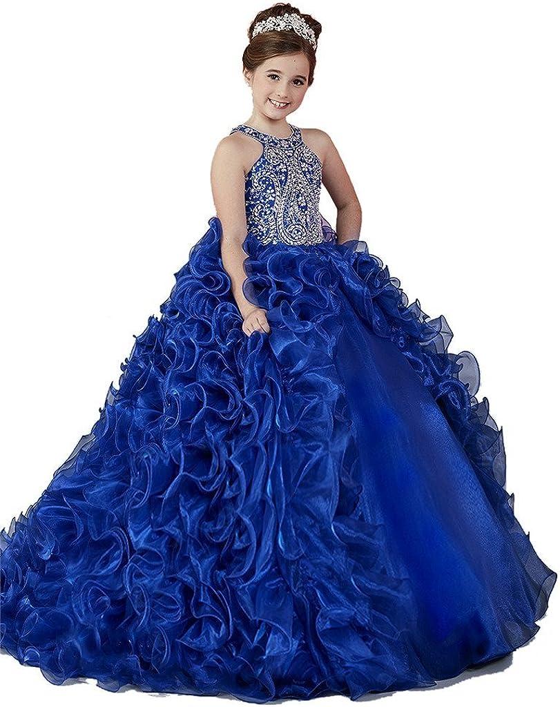HuaMei Little Girls Princess Organza Halter Ball Gowns Flower Girl Pageant Dresses