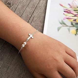 Adflyco Boho Cross Bracelet Silver Pearl Bracelet Hand Chain Jewelry for Women and Girls
