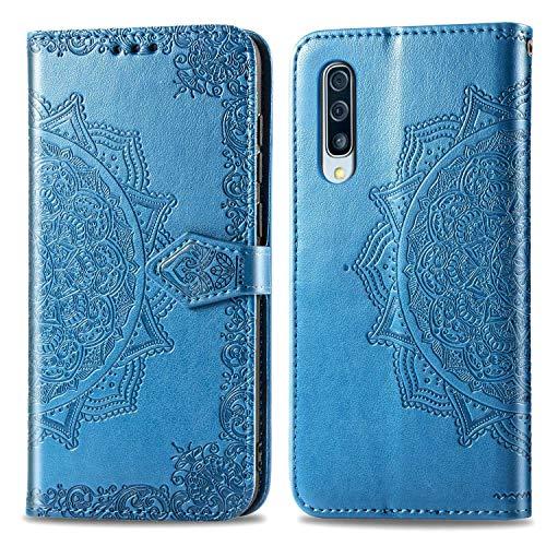 Bear Village Hülle für Galaxy A50 / Galaxy A50S / Galaxy A30S, PU Lederhülle Handyhülle für Samsung Galaxy A50 / A50S / A30S, Brieftasche Kratzfestes Magnet Handytasche mit Kartenfach, Blau