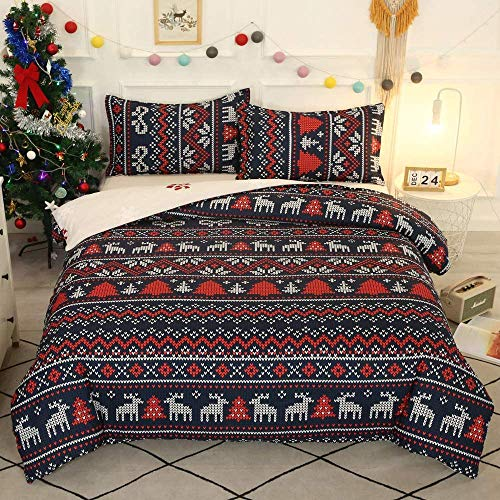 Feelyou Boho Christmas Bedding Set King, Kids Adult Xmas Home Decor Comforter Cover, Bohemian Animal Deer Pattern Duvet Cover for Girls Boys, Christmas Tree Elk Print Bedspread Cover Red 3 Pcs