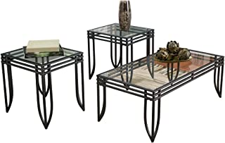 Signature Design by Ashley - Exeter Glass Top 3 Piece Occasional Table Set, Black Finish