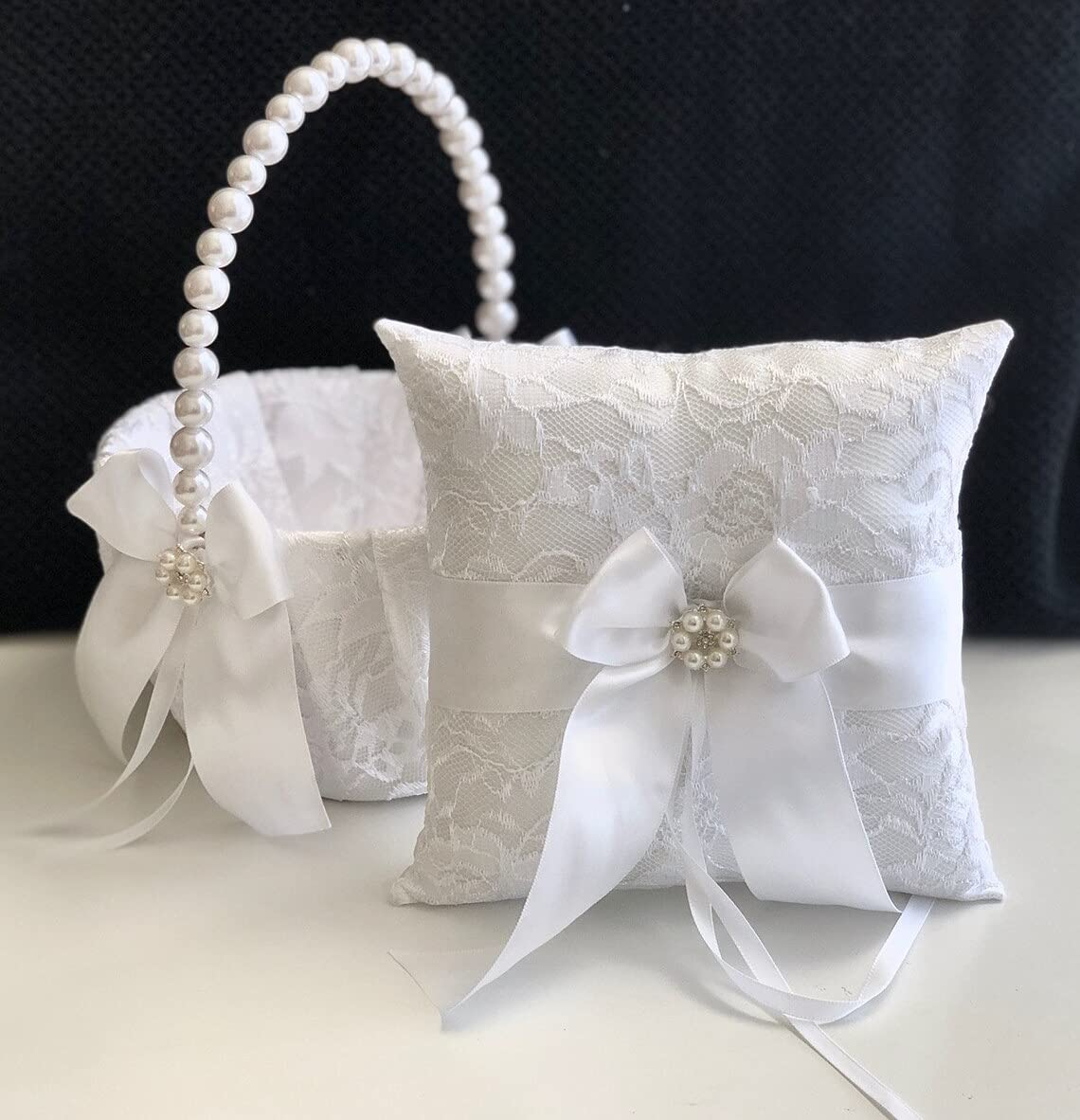 White Flower Girl Basket and Cheap mail order specialty store Ring Ranking TOP4 Bas Bearer Pillow Wedding Lace