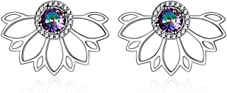 ChicSilver 925 Sterling Silver Lotus Flower Colorful Topaz Ear Jacket Front and Back Stud Earrings for Women (with Gift Box)