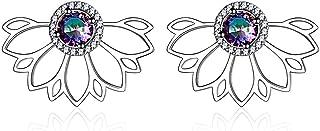 Hypoallergenic Ear Jacket Stud Lotus Flower Earrings for Women Girls, 925 Sterling Silver Colorful Topaz Front/Back Stud Earrings for Sensitive Ear